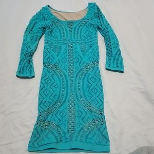BEBE TEAL GREEN BODYCON DRESS